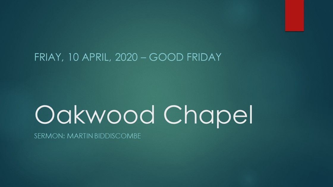 Good Friday service live stream, 10 April 2020