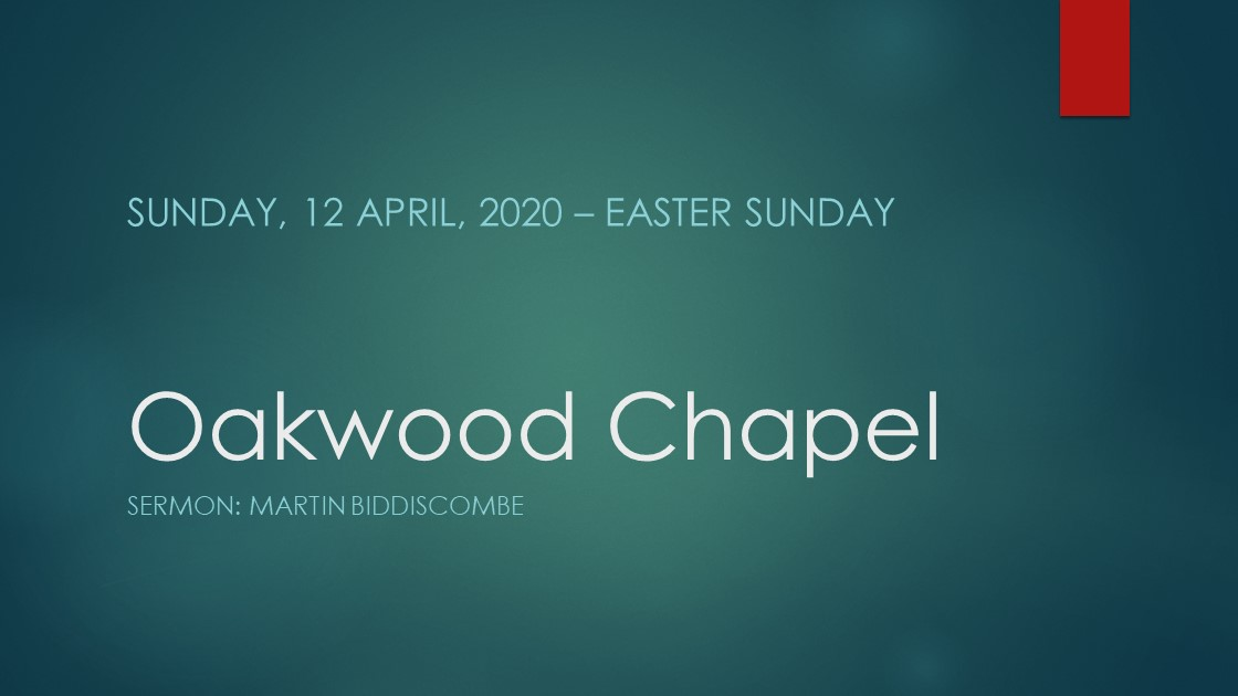 Easter morning service live stream, 12 April 2020