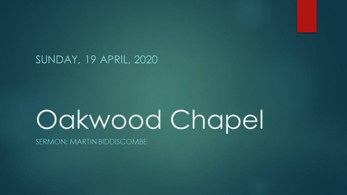Morning service live stream, 19 April 2020