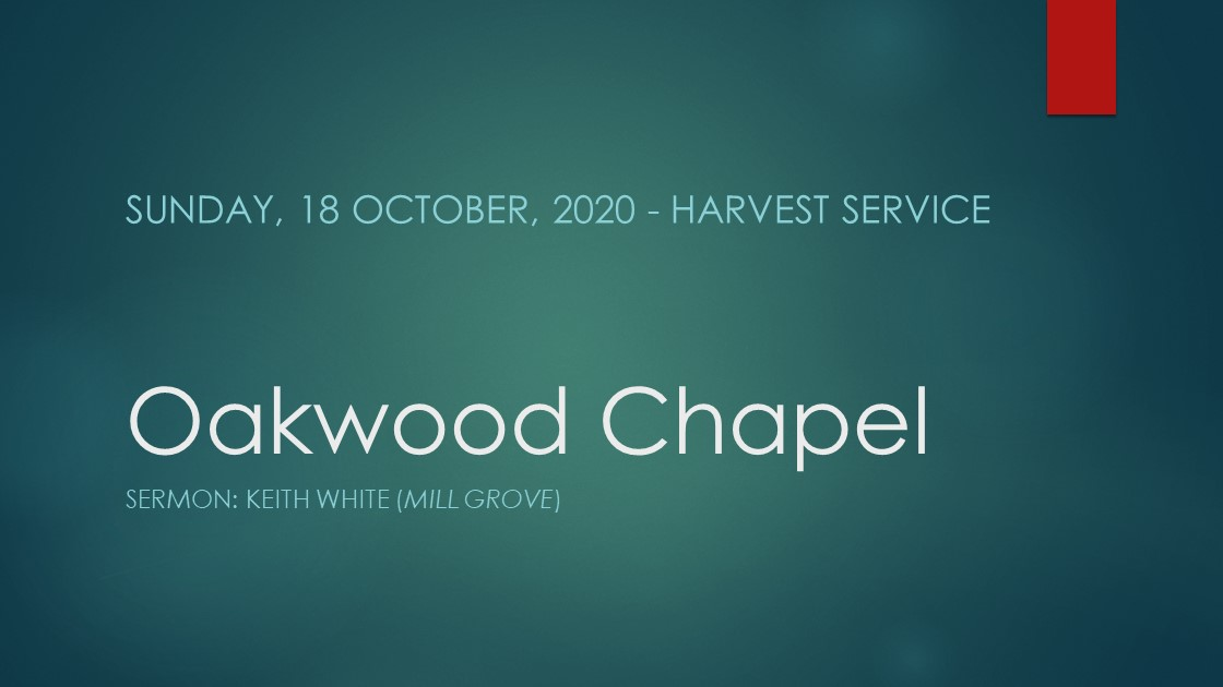Harvest service live stream, 18 October 2020